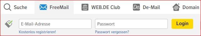 Freemail Login von Web.de